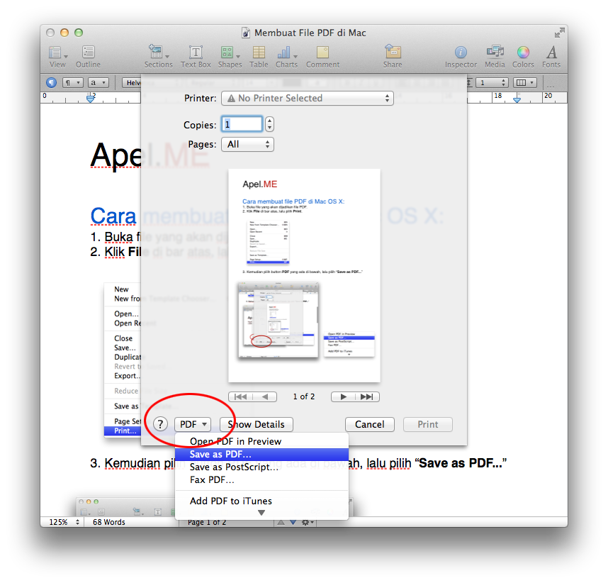 print as pdf in osx